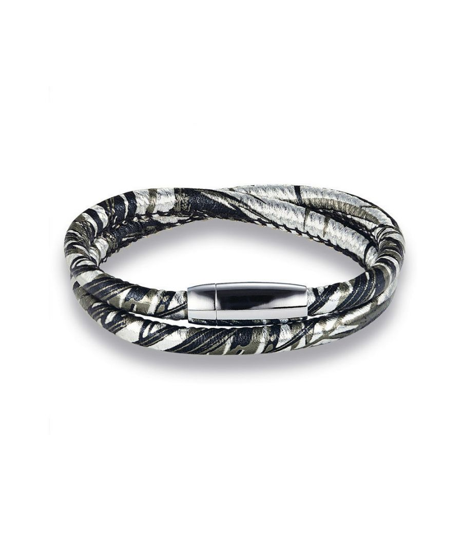 Image for Silver 2 Rows Leather Man Bracelet