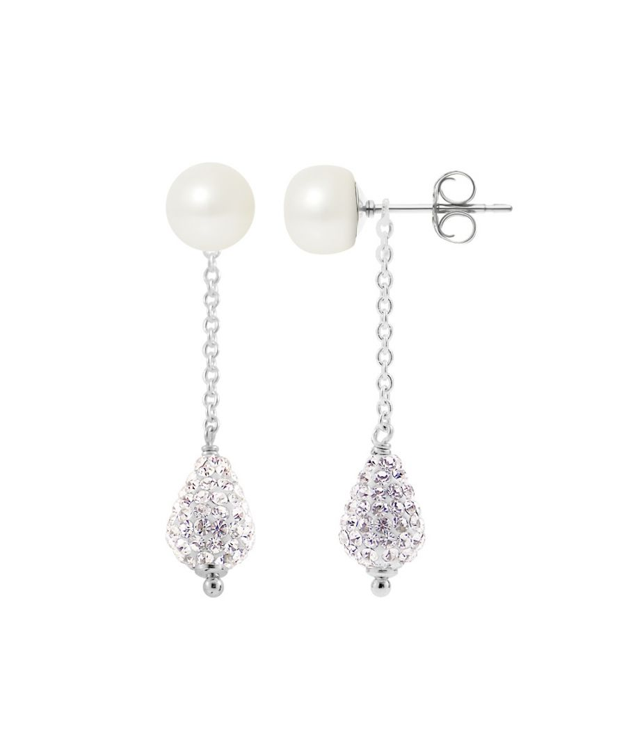 Image for White Cultured Pearls, White Crystal and 925 Silver Dangling Earrings