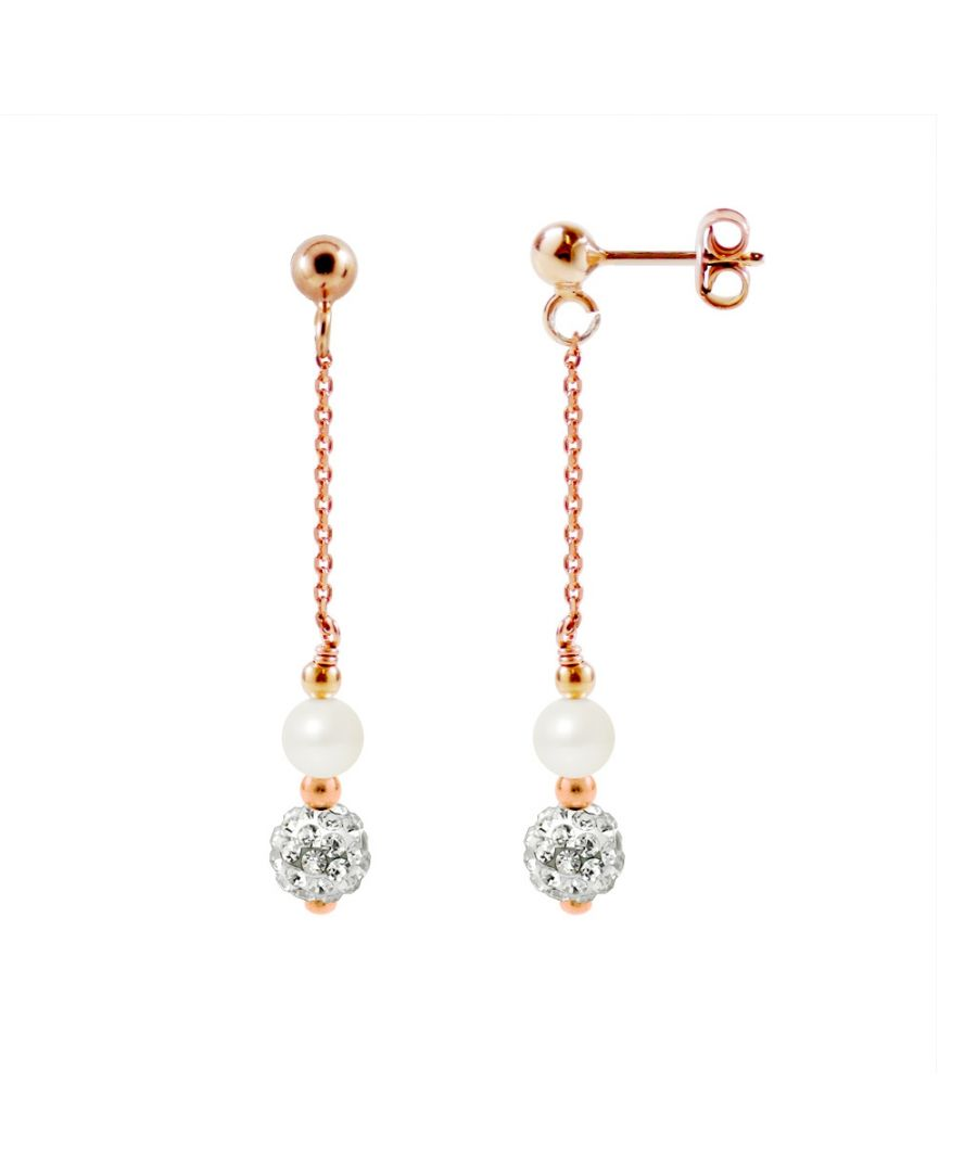 Image for White Cultured Pearls, White Crystal and Rose Gold plated Dangling Earrings