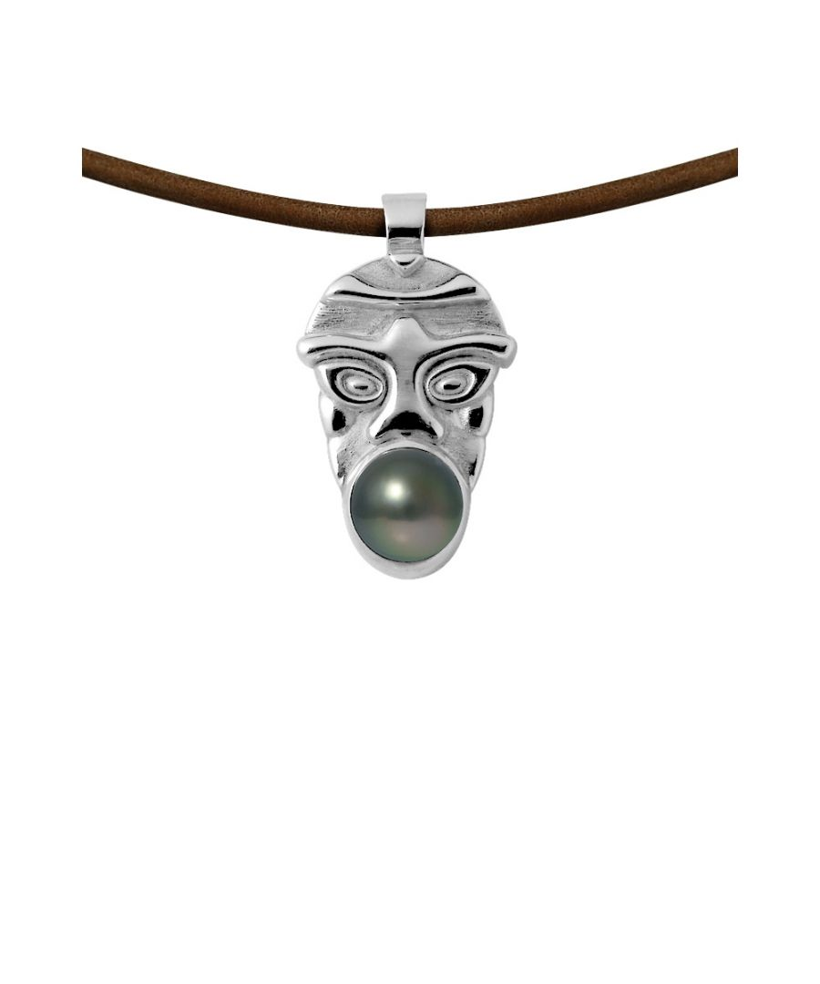 Image for Tahitian Pearl Tribal Leather Man Necklace and 925 Sterling Silver