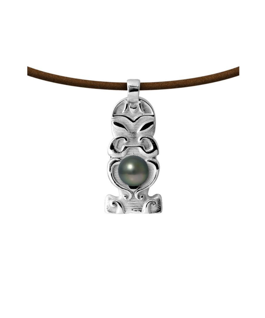 Image for Tahitian Pearl Totem Tribal Leather Man Necklace and 925 Sterling Silver