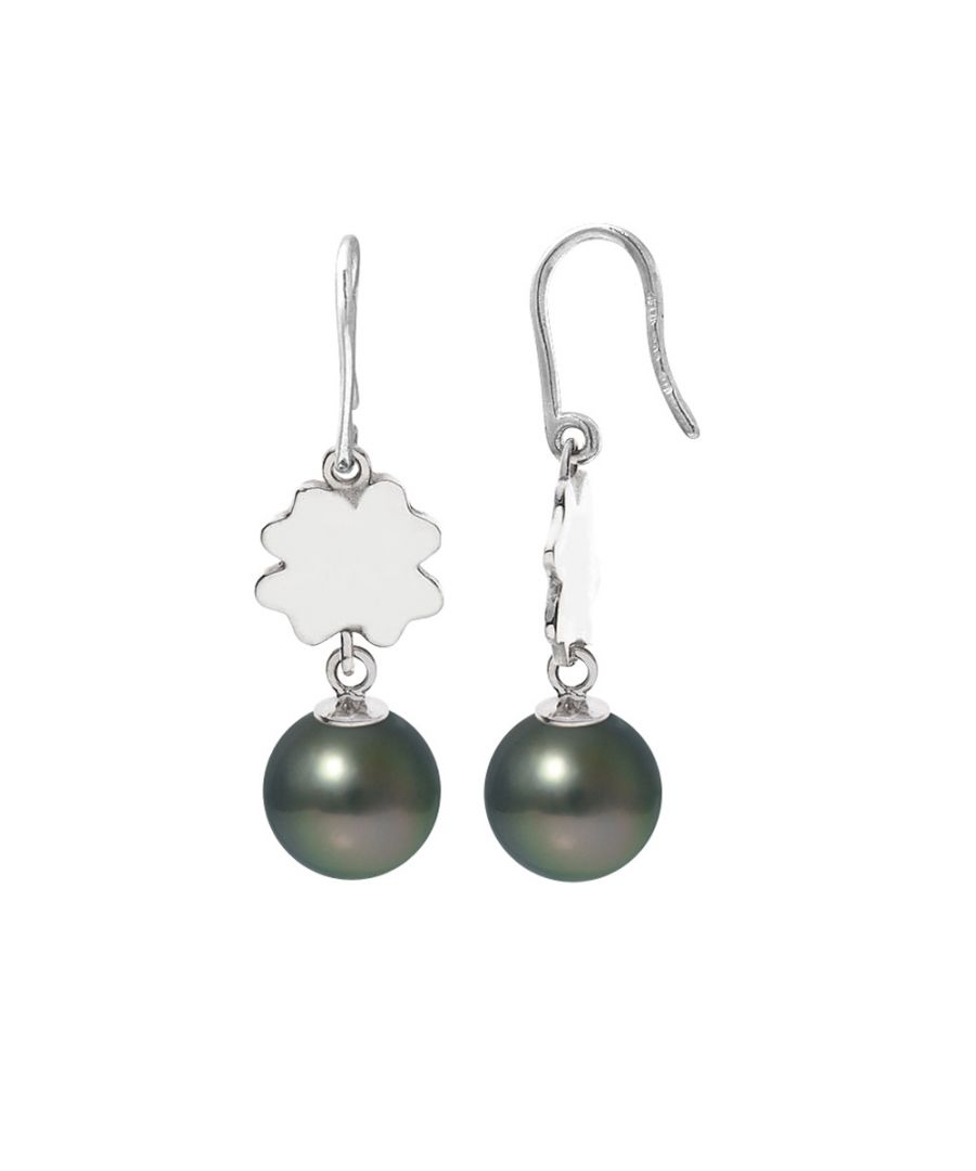 Image for Black Tahitian Pearls Clover Dangling Earrings and Silver 925/1000