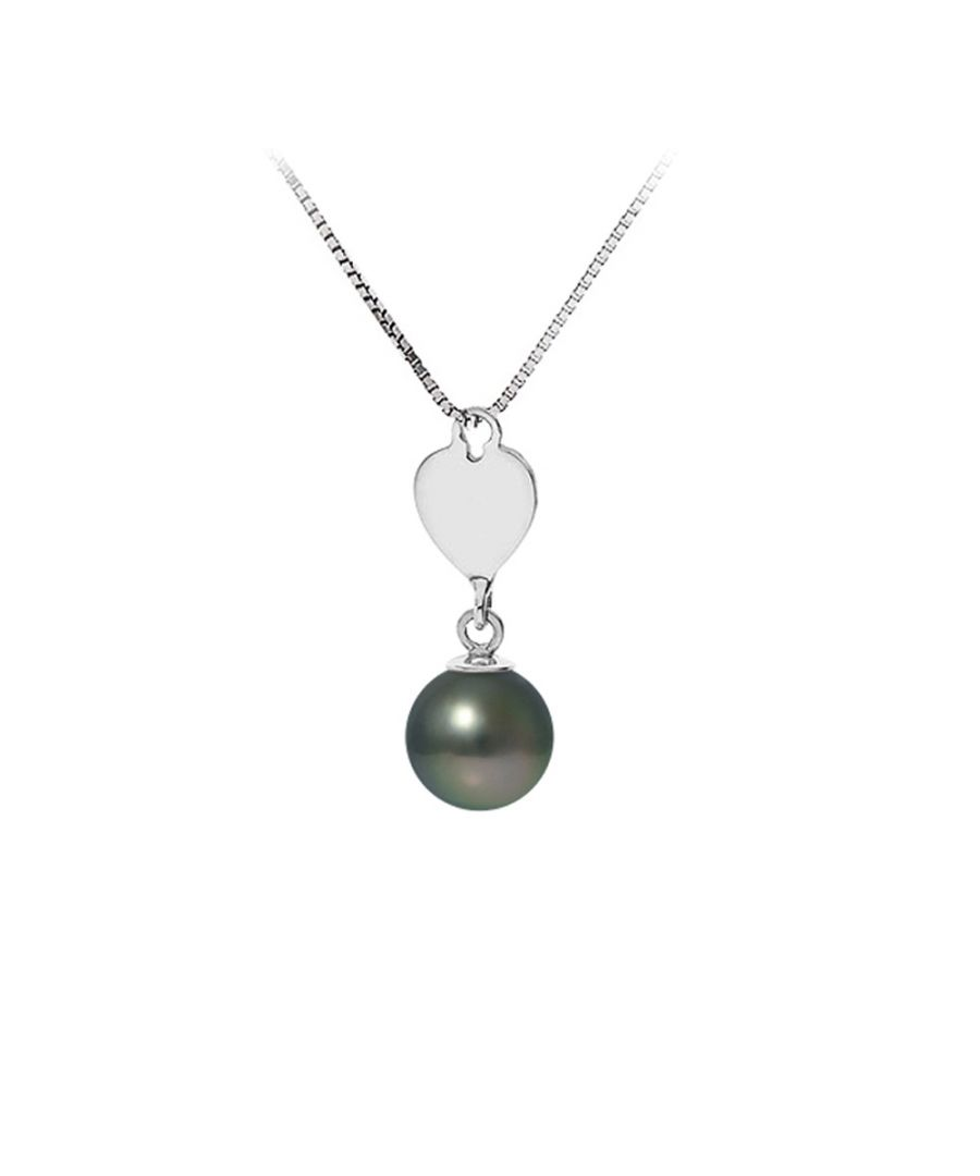 Image for Black Tahitian Pearl and Heart Pendant Necklace and Sterling Silver 925