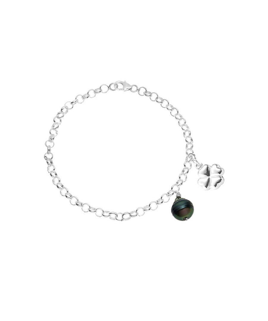 Image for Black Tahitian Pearl Clover Bracelet and 925 Sterling Silver