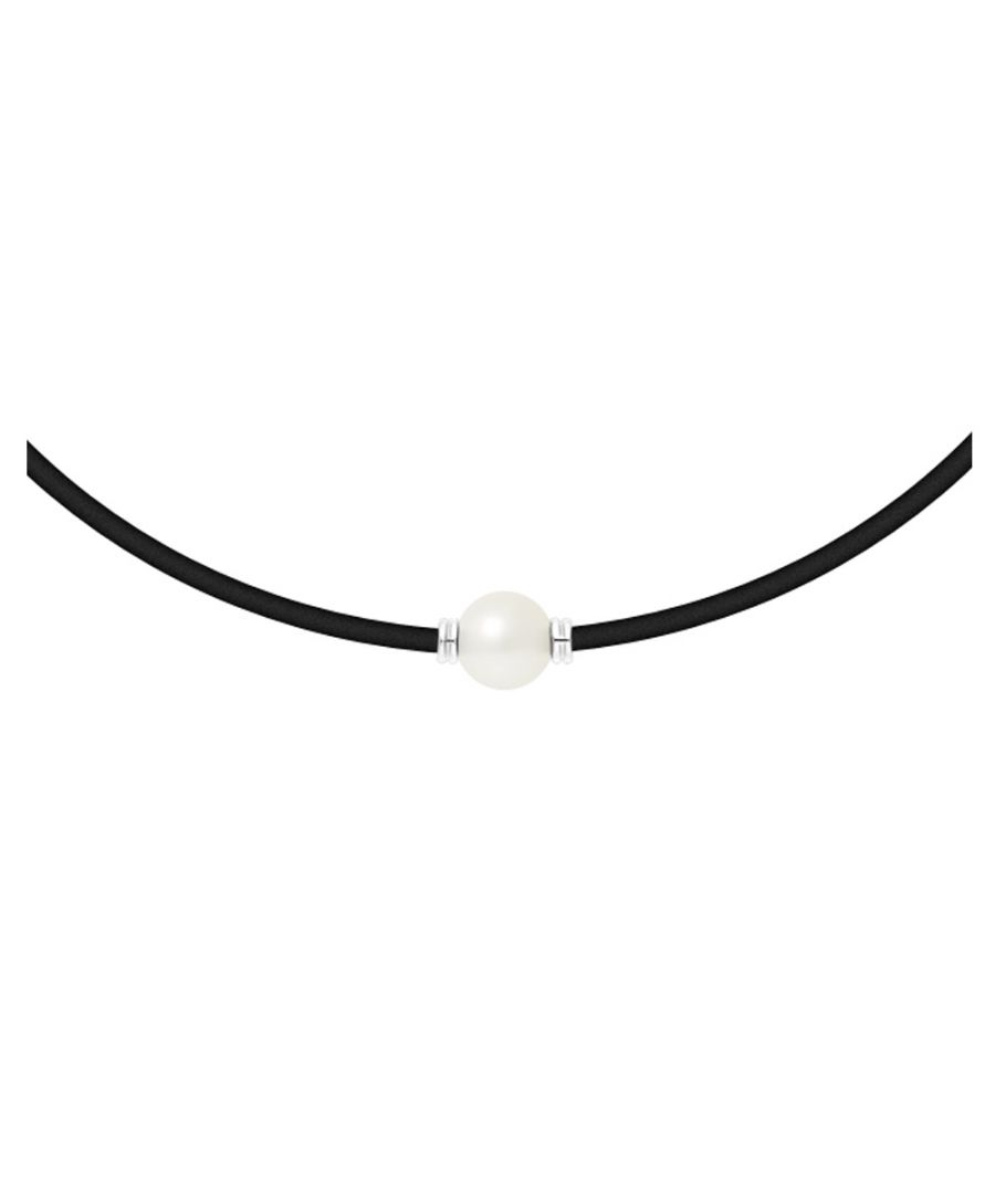 Image for White Freshwater Pearl Neoprene and 925 Sterling Silver Men - Women Sport Necklace