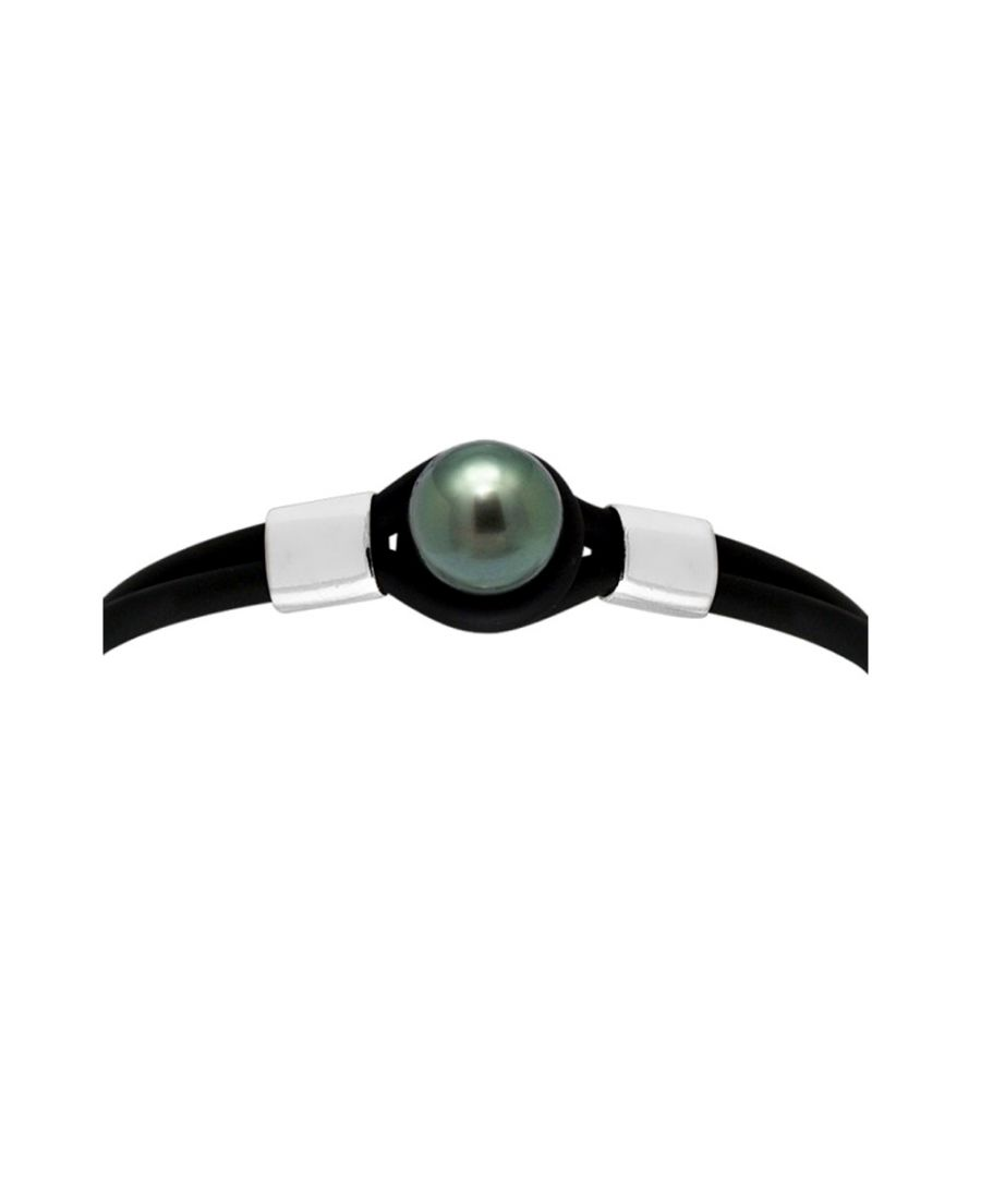 Image for 10 mm Black Tahitian Pearl, Black Neoprene Tribal Man-Woman Bracelet and 925 Sterling Silver