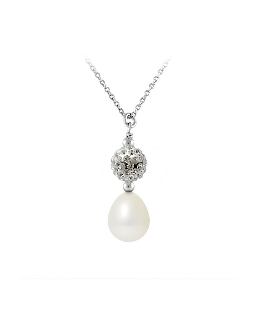 Image for Necklace and Pendant White freshwater pearl, crystal and 925 Silver