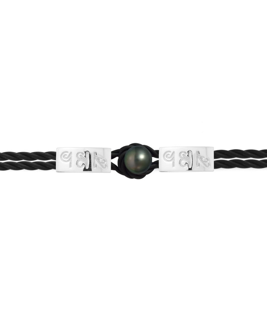Image for 10 mm Black Tahitian Pearl, Black Neoprene Tribal Man-Woman Bracelet and 925 Sterling Silver with Egyptian hieroglyphics