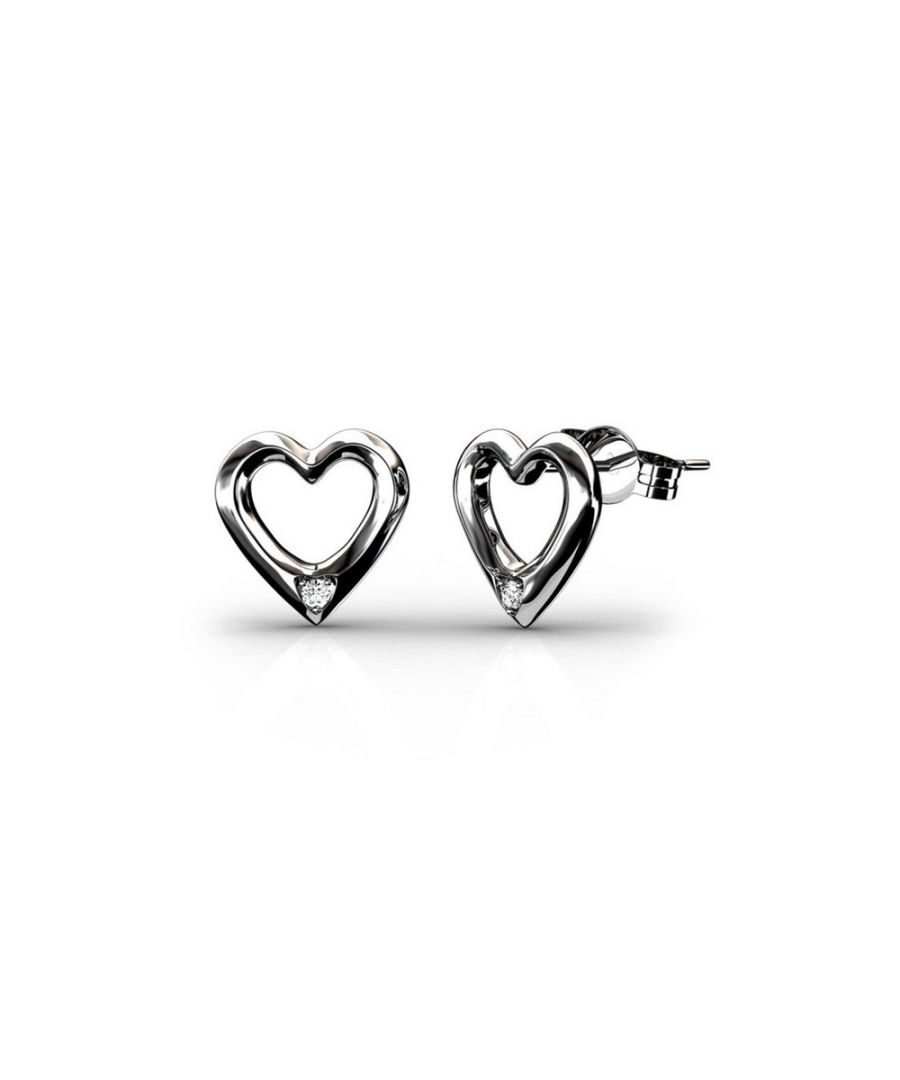 Image for Swarovski - Heart Earrings Women Rhodium Plated and White Swarovski Elements