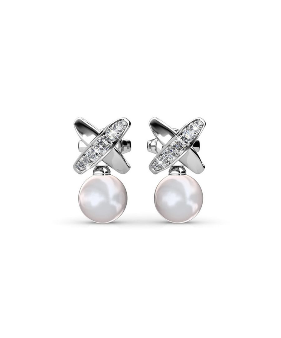 Image for Swarovski - Pearl Earrings Women Rhodium Plated and White Swarovski Elements