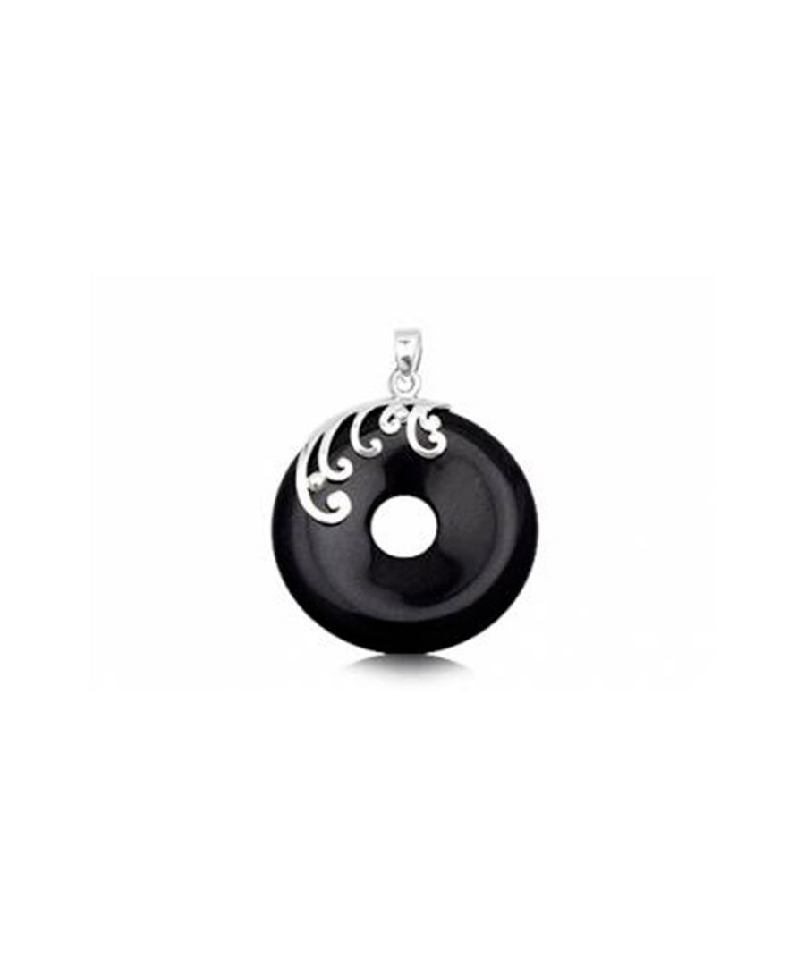 Image for Round Pendant in Black Sandstone and 925 Silver