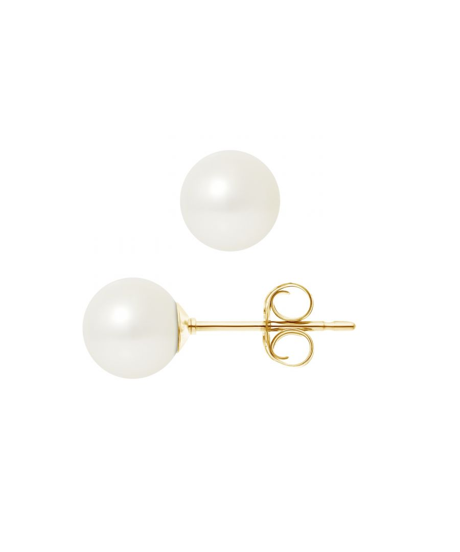 Image for 7.5 mm White Freshwater Pearls Earrings and yellow gold 750/1000