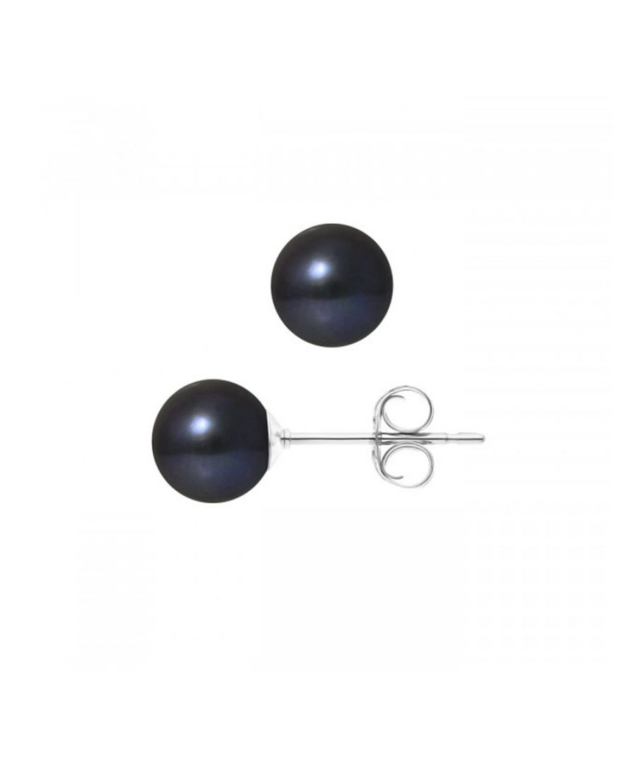 Image for 7.5 mm Black Freshwater Pearls Earrings and White gold 750/1000
