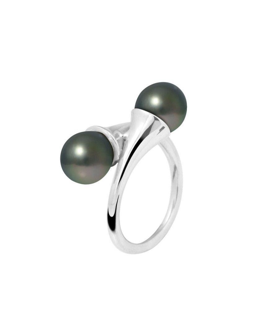 Image for 8mm Double Tahitian pearls and 925 sterling silver ring