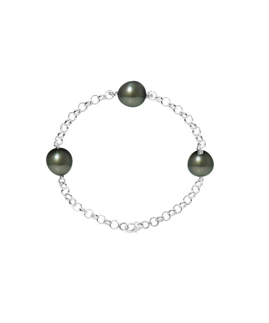 Image for Bracelet 3 Tahitian Pearls of 9mm and Silver 925/1000