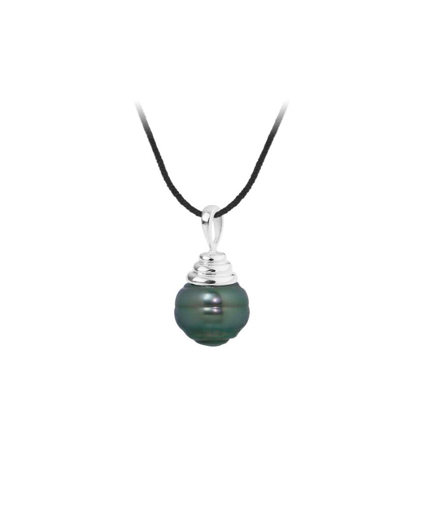 Image for Black Cotton Necklace, 10mm Rimmed Tahitian Pearl Pendant and Silver 925/1000