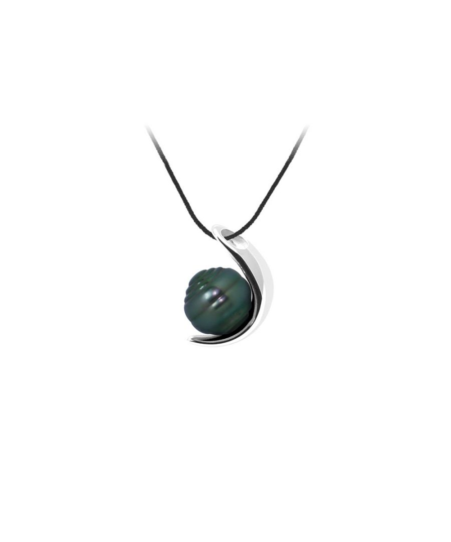 Image for Black Cotton Necklace, 9mm Rimmed Tahitian Pearl Pendant and Silver 925/1000