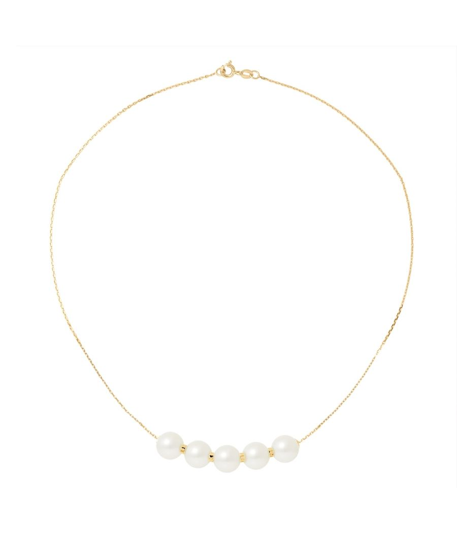 Image for 5 White Freshwater Pearls Choker Necklace and 750/1000 Yellow Gold