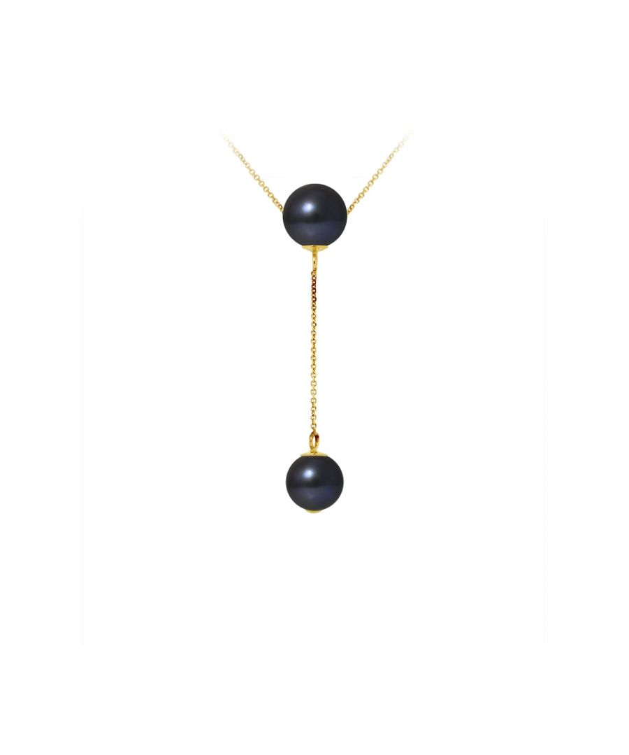 Image for 2 Black Freshwater Pearls Choker Necklace and 750/1000 Yellow Gold