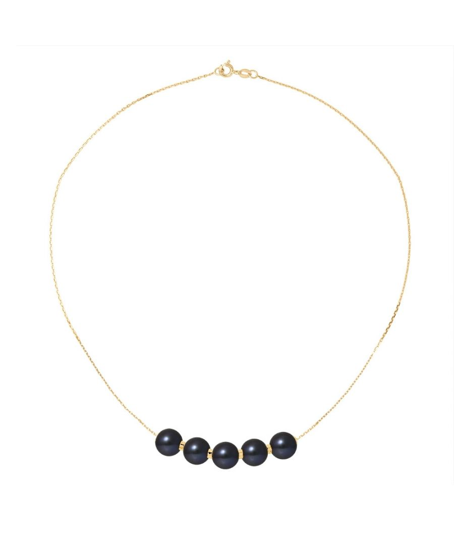 Image for 5 Black Freshwater Pearls Choker Necklace and 750/1000 Yellow Gold