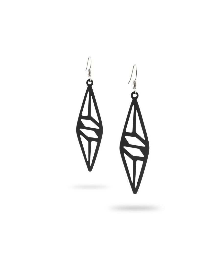 Image for Black Silicone Gum Geometric Dangling Earrings