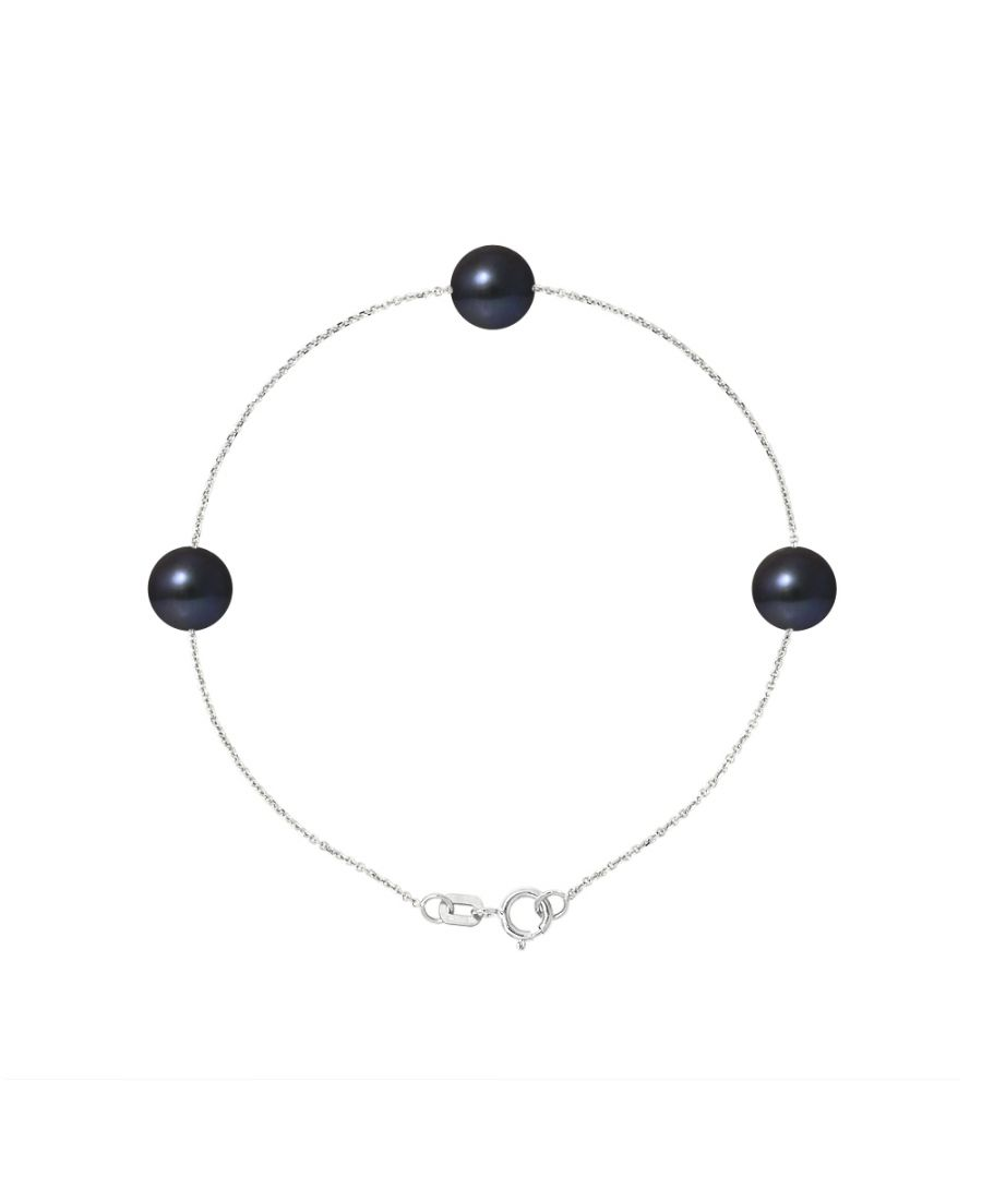 Image for 3 AA Black Freshwater Pearls Bracelet and 750/1000 White Gold