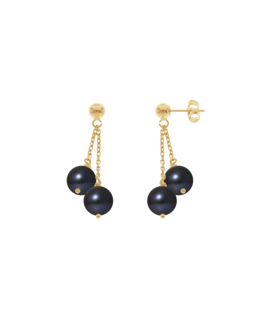 Image for Double Black Freshwater Pearls Dangling Earrings and yellow gold 750/1000