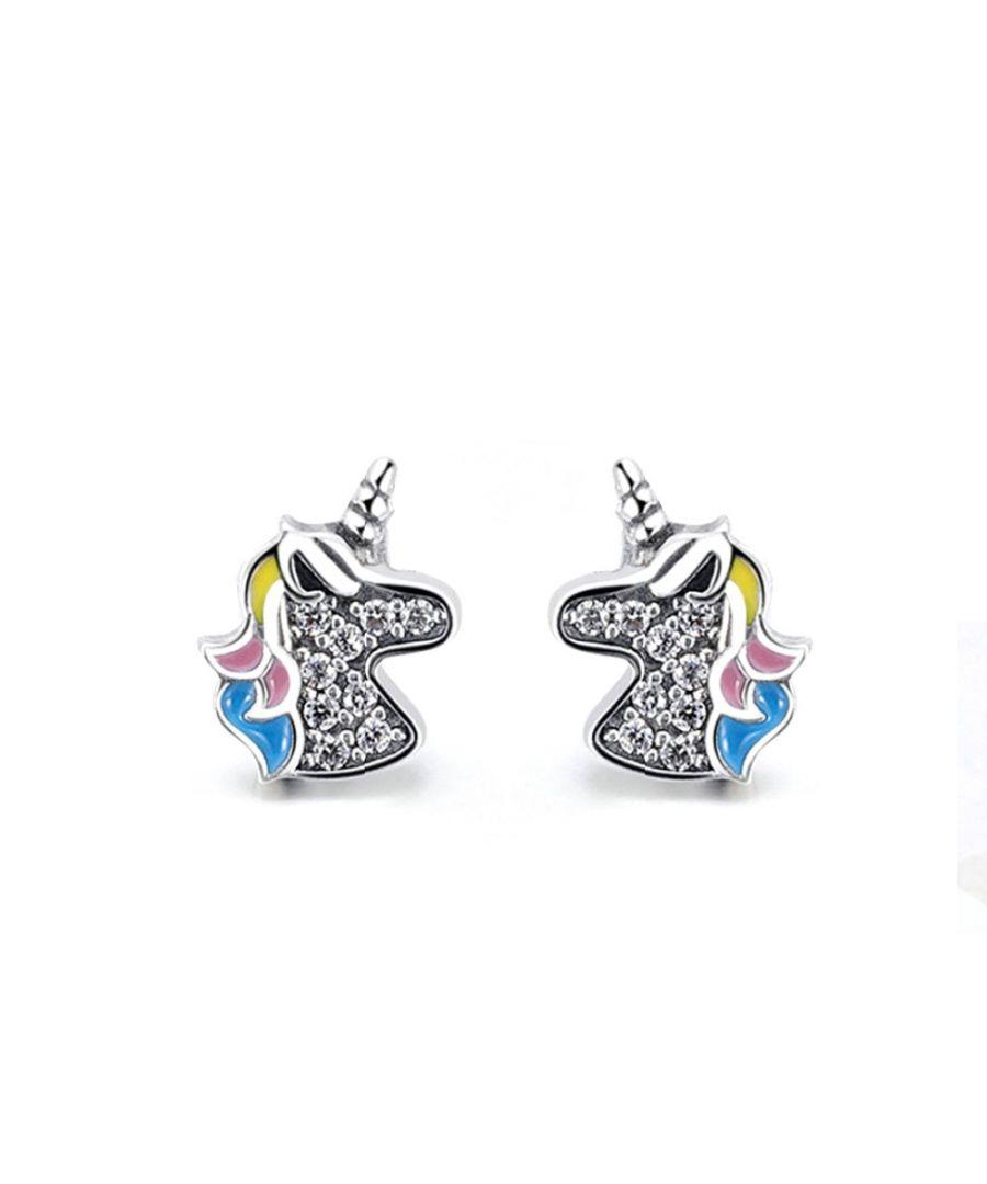 Image for Swarovski - Unicorn Earrings with White Swarovski Crystal and 925 Silver
