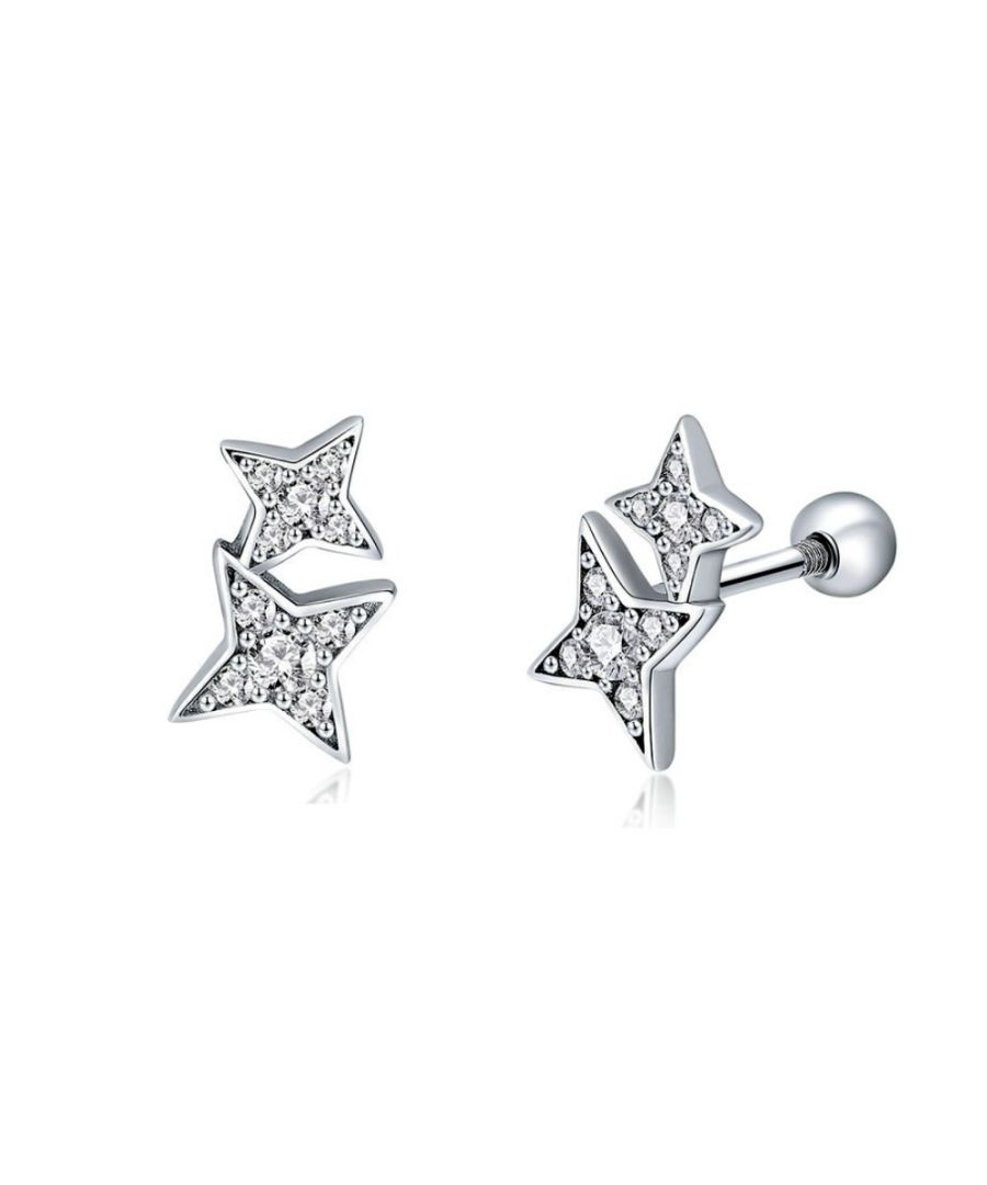 Image for Swarovski - Stars Earrings with White Swarovski Crystal and 925 Silver
