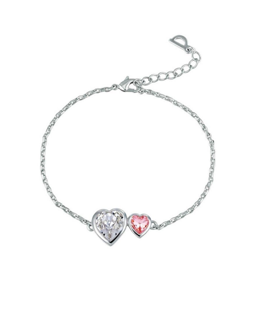 Image for Swarovski - Pink and White Swarovski Crystal Elements Double Hearts Bracelet