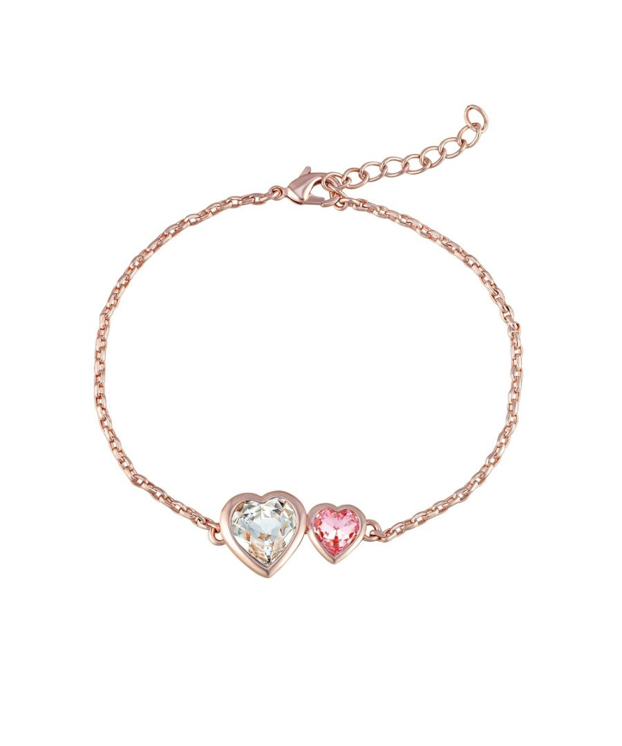 Image for Swarovski - Pink and White Swarovski Crystal Elements and Rose Gold Plated Double Hearts Bracelet