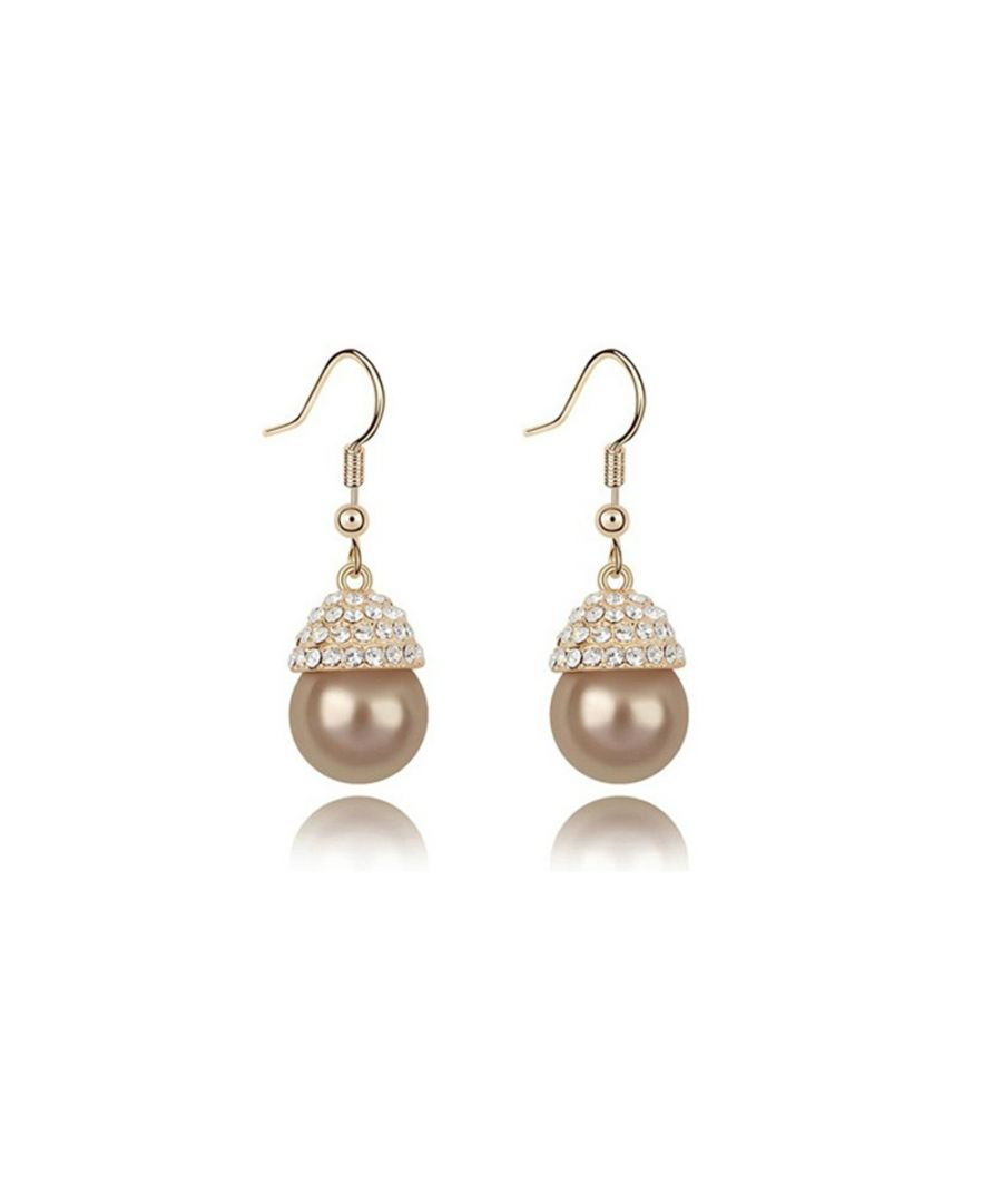 Image for Gold Pearl White Crystal Drop Earrings and Yellow Gold Plated