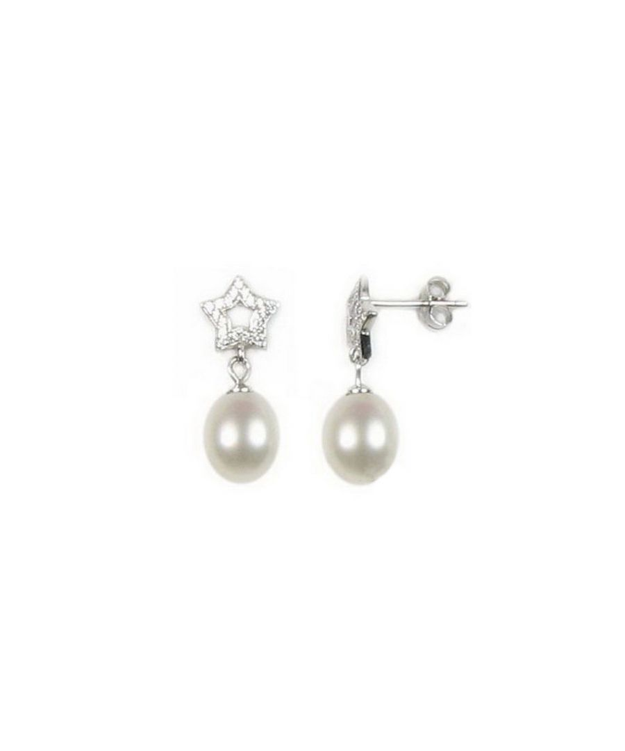 Image for White Freshwater Pearl Star Earrings and Silver Mounting