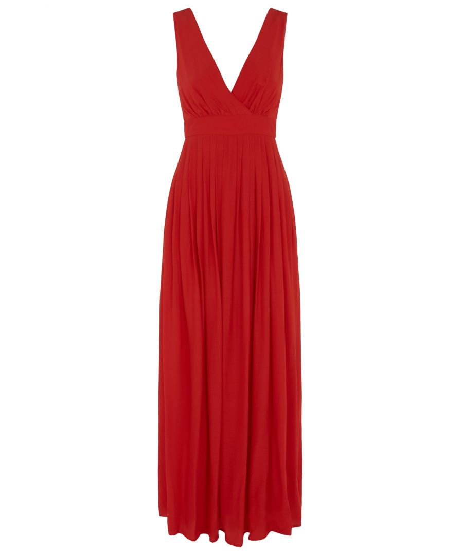 Image for Fall V-neck Sleeveless Maxi Dress in Red