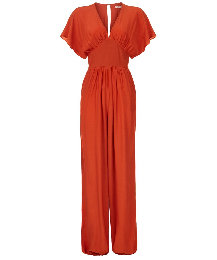 Image for Genie Capsleeve V-neck Jumpsuit in Red