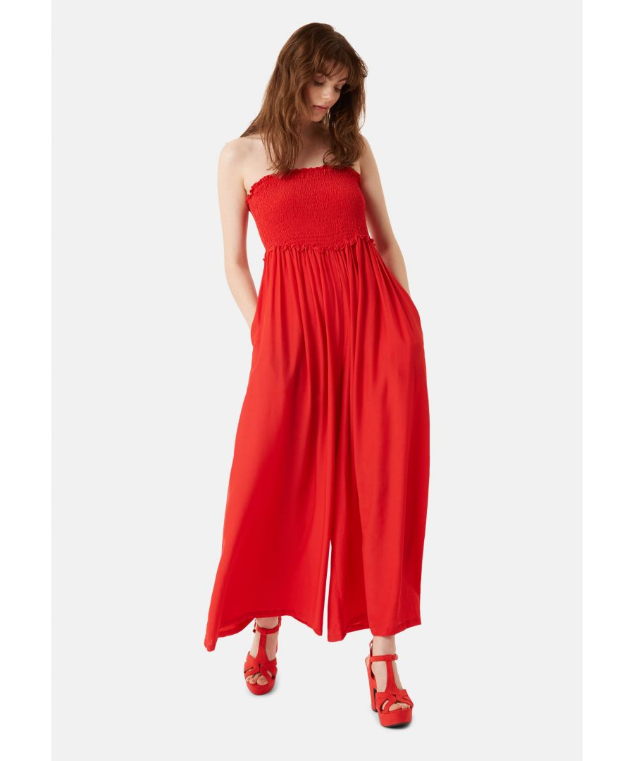 Image for Strapless Wide Leg Smock Jumpsuit in Red
