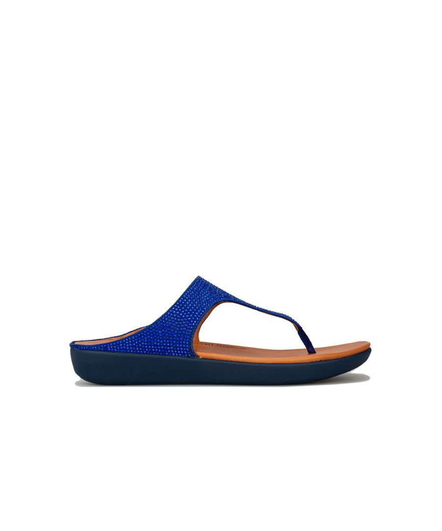 Image for Women's Fit Flop Banda Crystalled Toe Thong Sandals in Blue