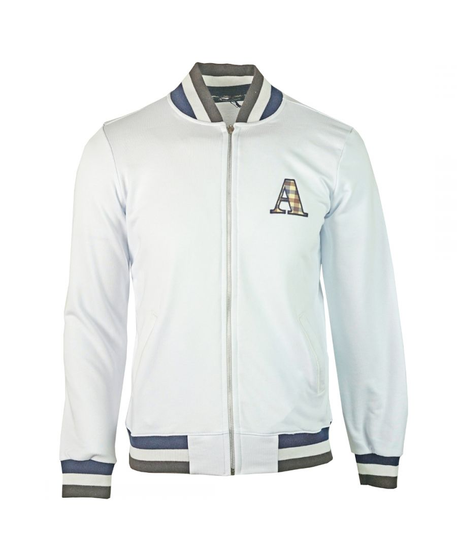 Image for Aquascutum A Logo Zip Sweater White Jacket