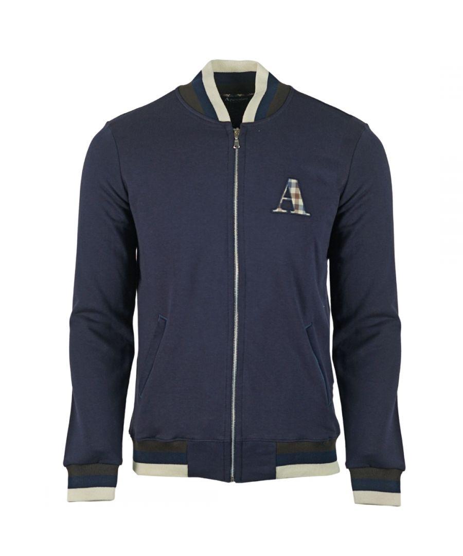 Image for Aquascutum A Logo Zip Sweater Navy Jacket