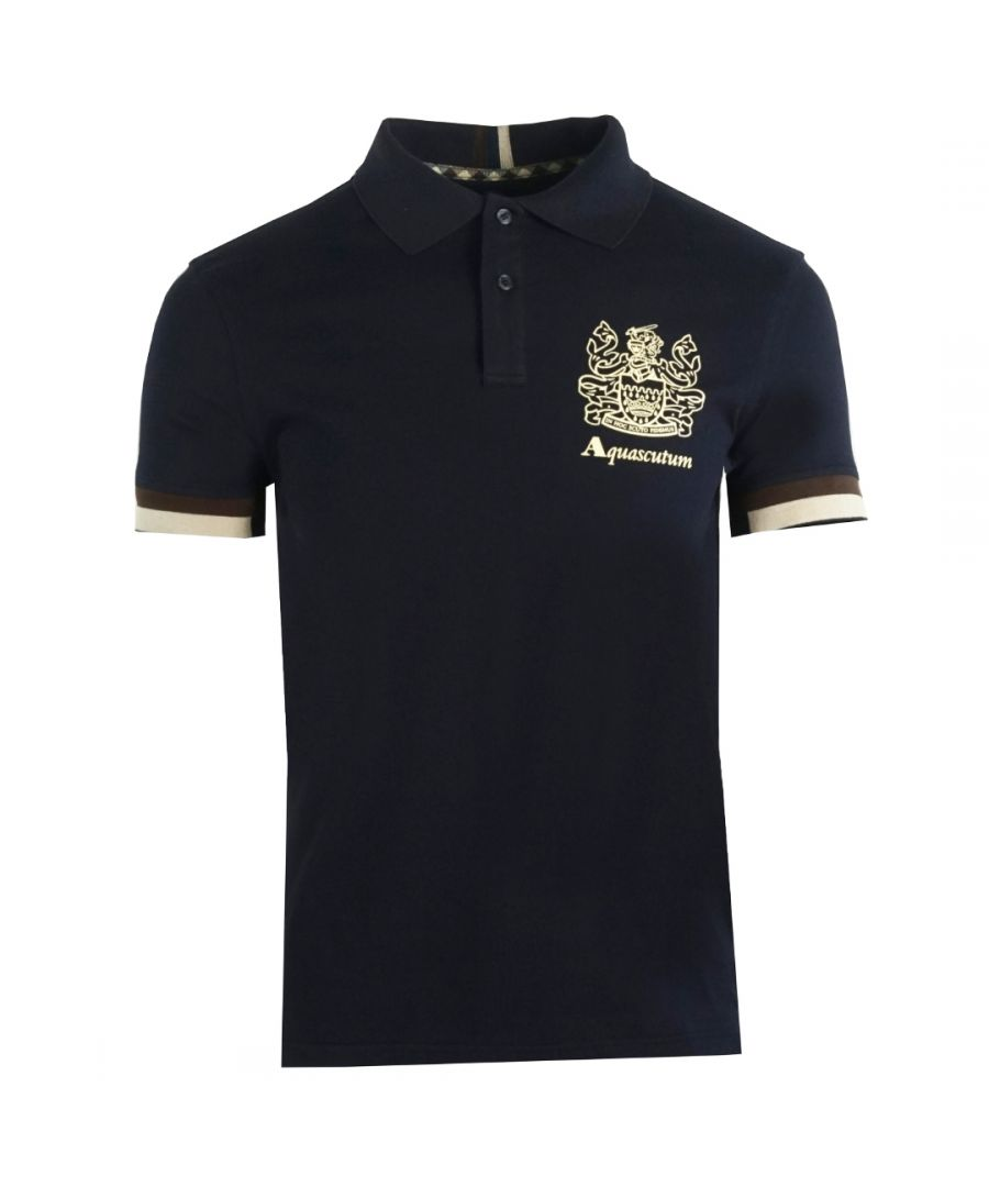 Image for Aquascutum Aldis Crest Logo Navy Polo Shirt