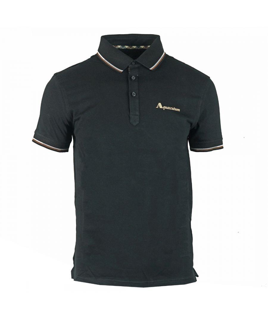 Image for Aquascutum Brand Logo Black Polo Shirt