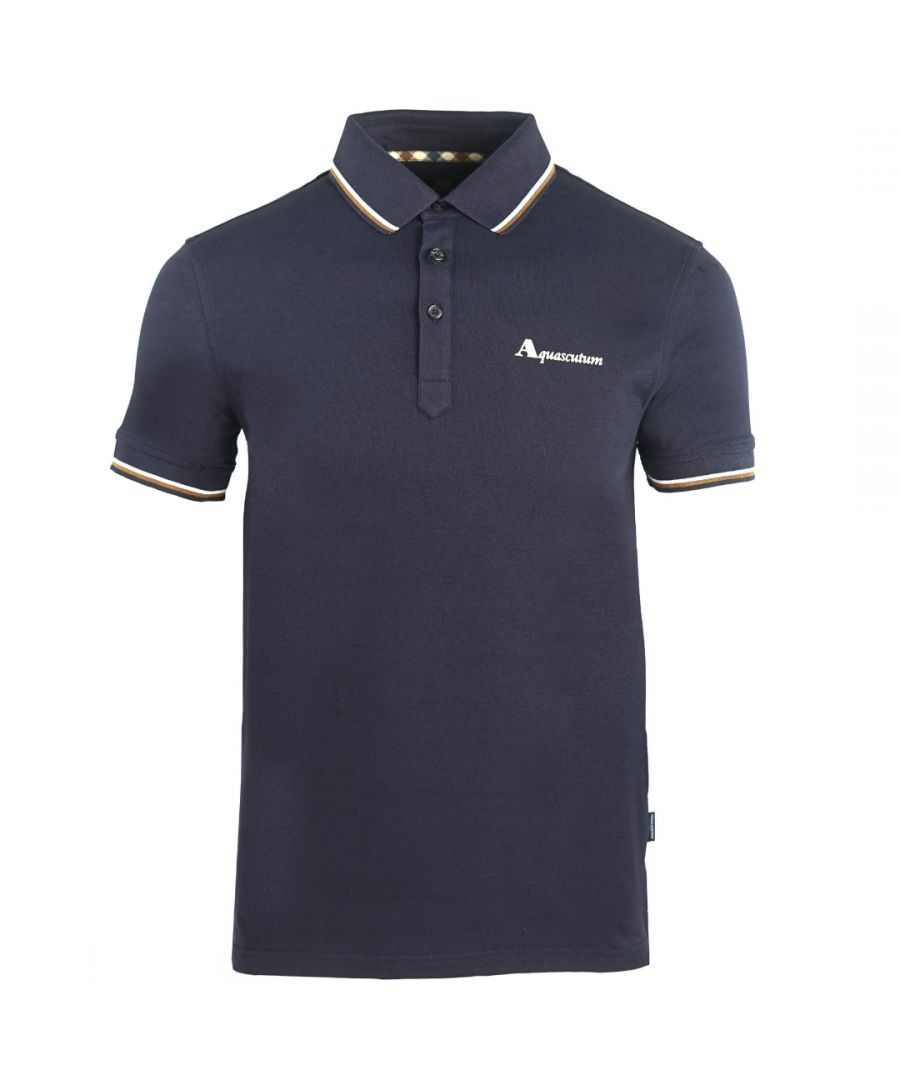 Image for Aquascutum Brand Logo Navy Polo Shirt