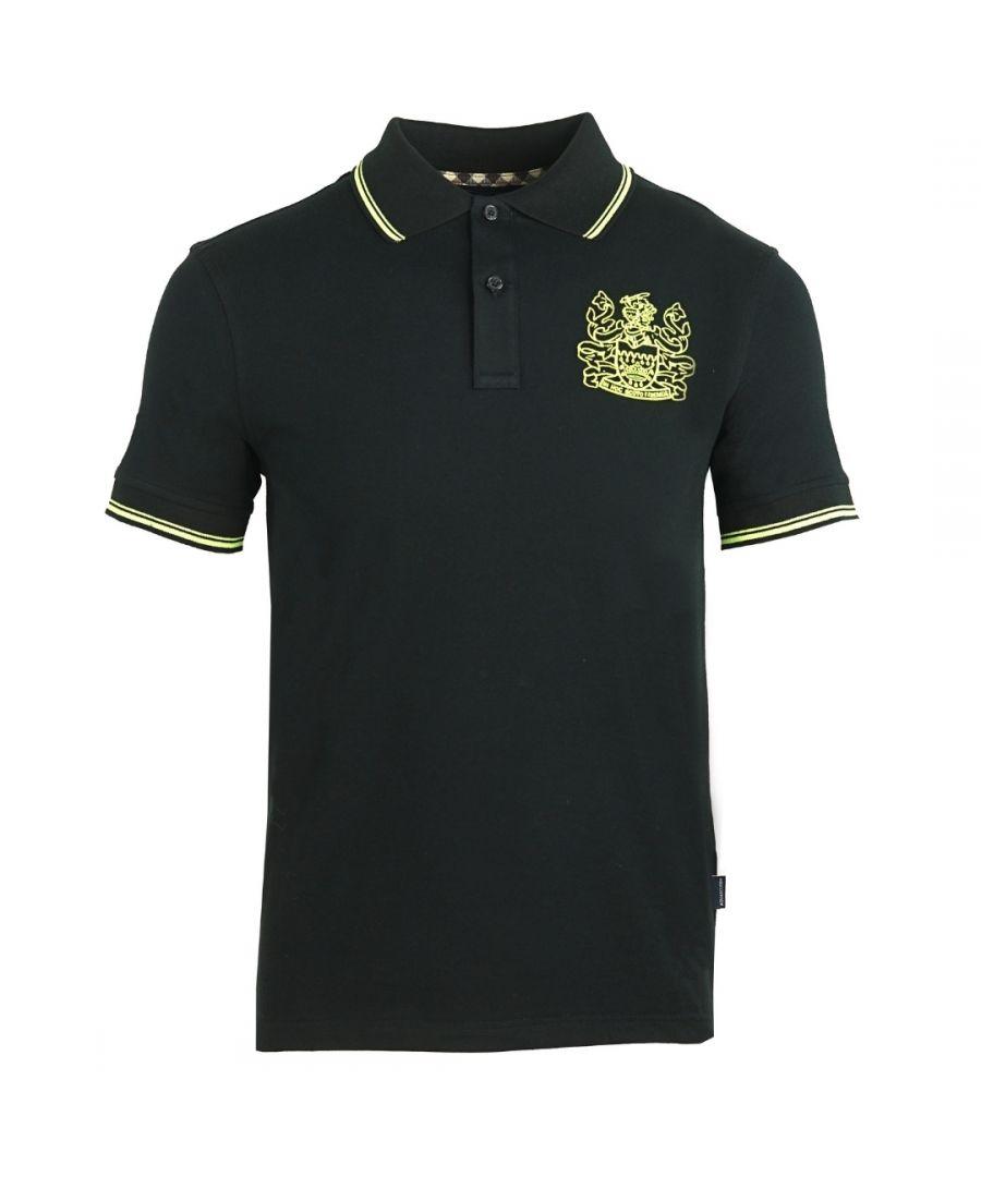 Image for Aquascutum Aldis Yellow Crest Black Polo Shirt