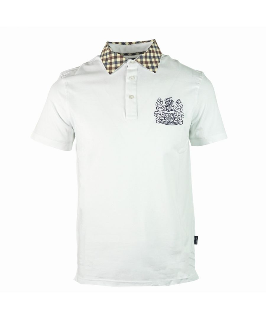 Image for Aquascutum Signature Check Collar White Polo Shirt