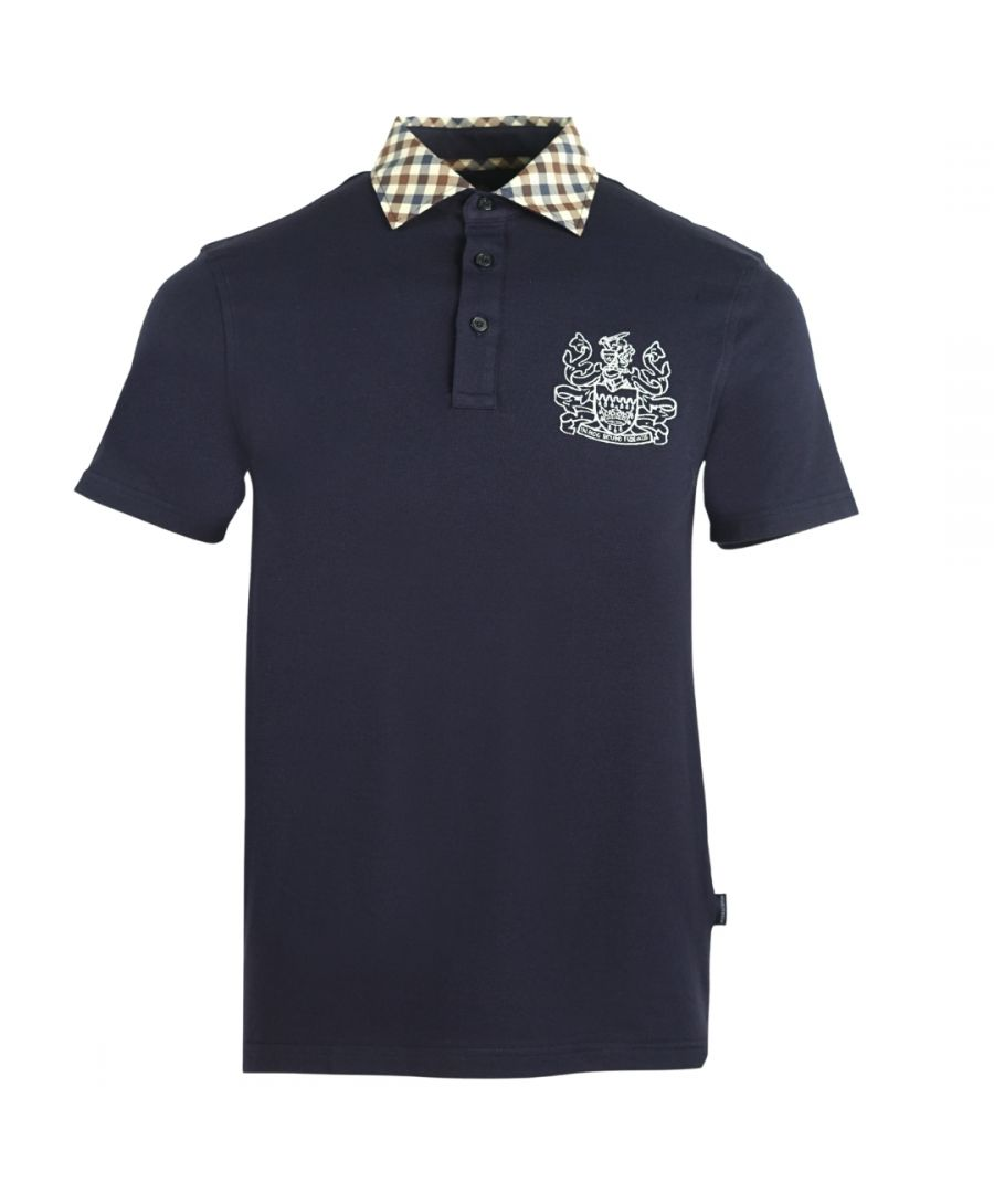 Image for Aquascutum Signature Check Collar Navy Polo Shirt