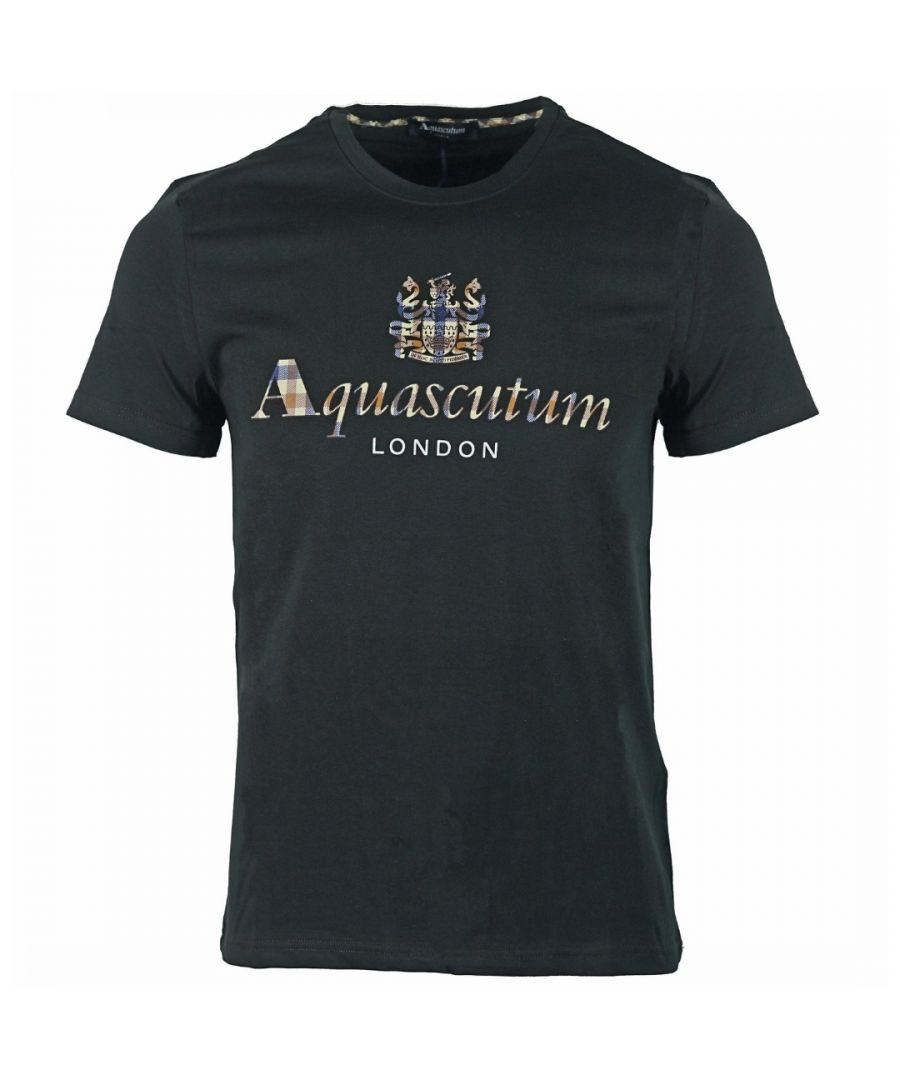 Image for Aquascutum Signature Check Logo Black T-Shirt