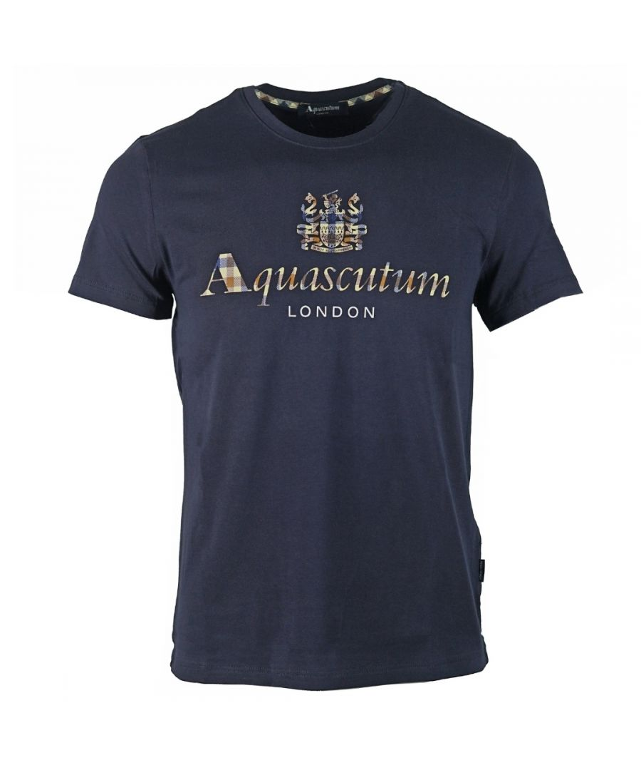 Image for Aquascutum Signature Check Logo Navy T-Shirt