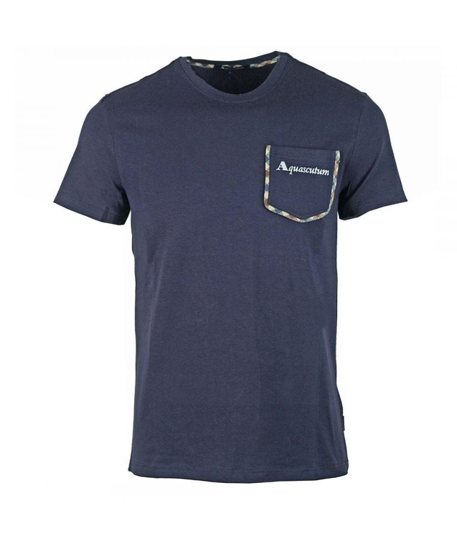 Image for Aquascutum Check Trim Pocket Navy T-Shirt