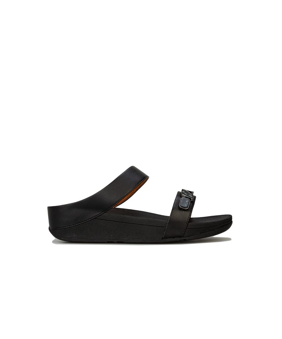 Image for Women's Fit Flop Fino Shellstone Slide Sandals in Black