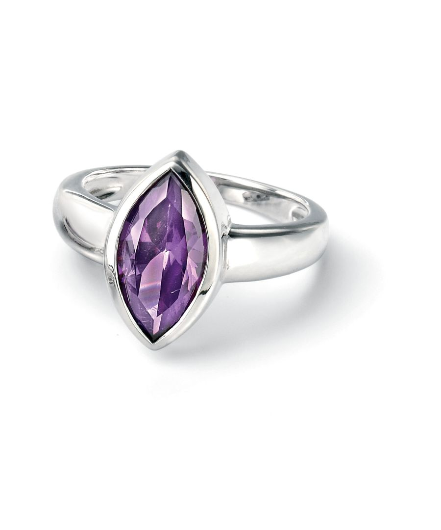 Image for Fiorelli Silver Womens 925 Sterling Silver Marquise Purple Cubic Zirconia Ring
